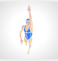 Freestyle woman swimmer silhouette sport swimming vector