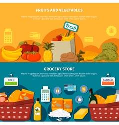 Fruits Vegetables Grocery Supermarket Banners vector image