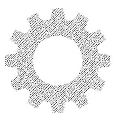 Gearwheel composition of barbed wire icons vector
