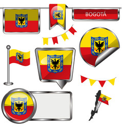 Glossy icons with flag of bogota vector