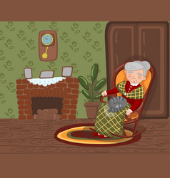 grandma sleeping in cozy chair with cat on her vector image