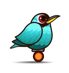 Green Honeycreeper bird cartoon vector