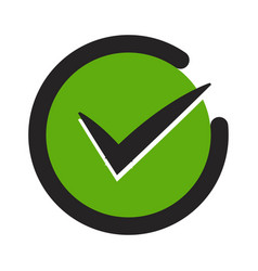 Green tick confirm or checkmark flat icons vector