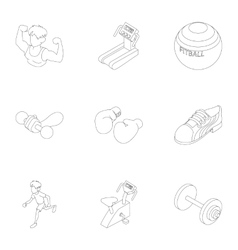 Gym icons set outline style vector