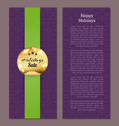 happy holidays sale gold sticker round label cover vector image