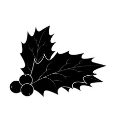 holly berry silhouette christmas leaves and vector image