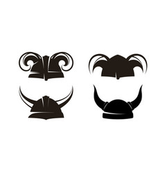 Horned helmets of the vikings set vector