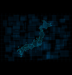 Hud map japan with prefectures cyberpunk vector