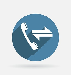 incoming and outgoing call Circle blue icon with vector image