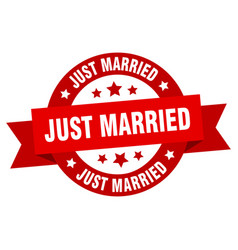just married ribbon just married round red sign vector image