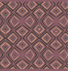 Linocut rhombus brown seamless pattern vector