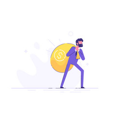 Man is carrying on his back a huge bag money vector