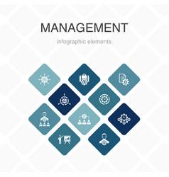 Management infographic 10 option color design vector