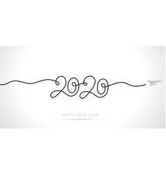 new year 2020 greeting card minimal line art vector image
