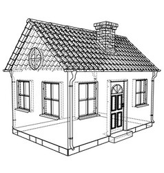 Private house sketch rendering of 3d vector