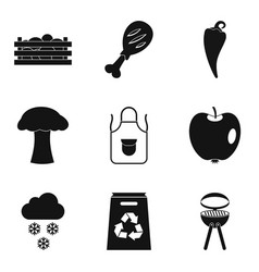 Produce icons set simple style vector