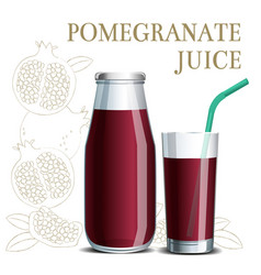 realistic pomegranate juice in a jar and a glass vector image