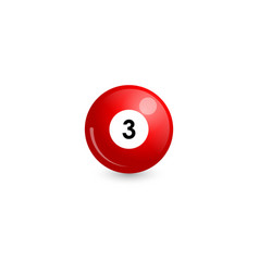 Red billiard ball number 3 vector