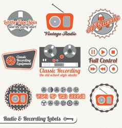 Retro Recording and Radio Labels vector image