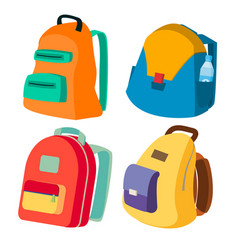Schoolbag set closed backpacks side view vector