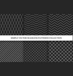 Seamless dark geometric minimalistic patterns vector