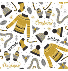 Seamless pattern with gold christmas warm clothes vector