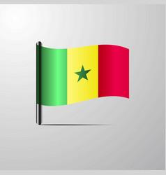 Senegal waving shiny flag design vector