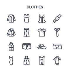 Set 16 clothes concept line icons 64x64 thin vector
