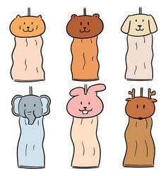 Set animal hand towel vector