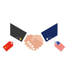 Shaking hands with china flag tag and united vector