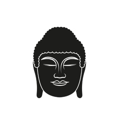Simple black Buddha face style icon vector image