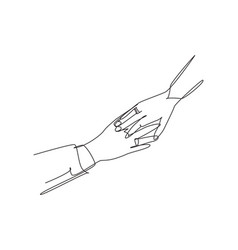 Single continuous line drawing hand groom vector