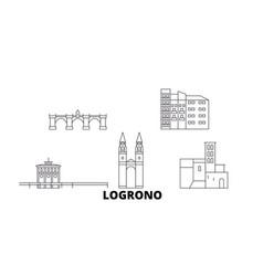 Spain logrono line travel skyline set spain vector