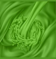 Stream green juice pours into green liquid vector