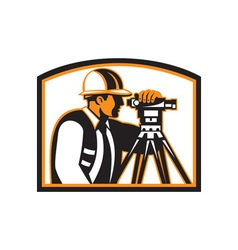 Surveyor Geodetic Engineer Survey Theodolite vector image