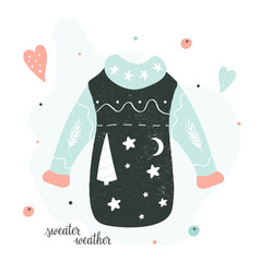 Sweater weather holiday card with knitted jumper vector