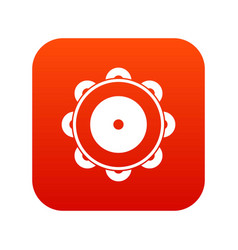 Tambourine icon digital red vector