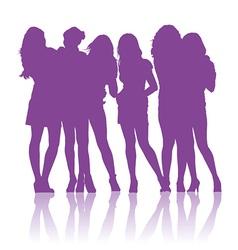 Teenage schoolgirls talking to each other vector image