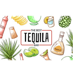 Tequila the best refreshment bar and beverage vector