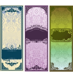 Three vertical colorful banners with classic vector