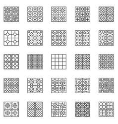 tile outline icons set - ceramic tiles vector image