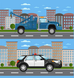 tow truck and police car in urban landscape vector image