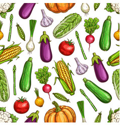 vegetables and beans seamless pattern background vector image