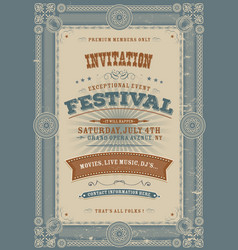 vintage holiday festival invitation background vector image