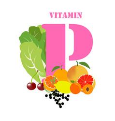 Vitamin p healthy nutrient rich food vector