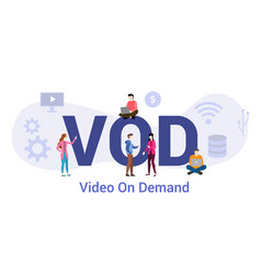 vod video on demand technology concept with big vector image