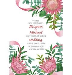 Wedding invitation with protea and greenery vector