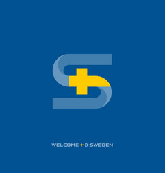 welcome to sweden stylized letter s made in the vector image