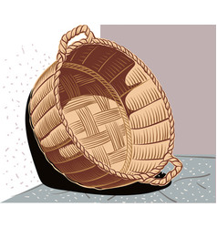 Wicker basket leaning against the wall vector
