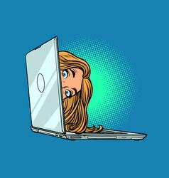 Woman peeking out laptop vector